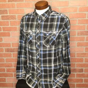 BKE mens snap front plaid shirt L slim fit (4Z66)